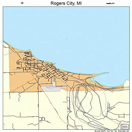 Amazon Com Large Street Road Map Of Rogers City Michigan Mi
