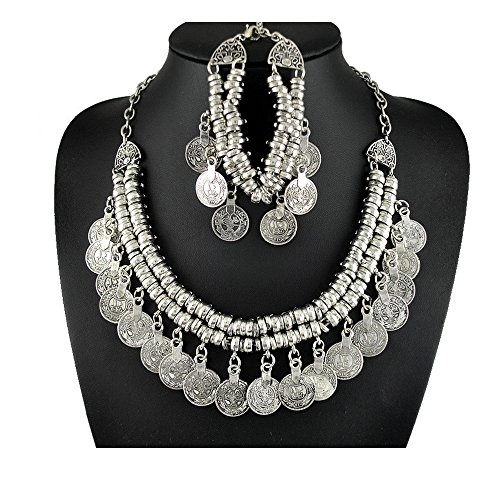 Dowonsol 2Pcs Vintage Coins Woven Tassel Necklace Plated Necklace Jewelry Sets (Coin Set Woven)