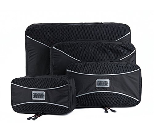 PRO Packing Cubes - 4 Pc Lightweight Travel Packing Cube Set - Organizers and Compression Pouches System for Carry-on Luggage Accessories, Suitcase and Backpacking. Small, Medium & Large (x4 (Target Plastic Table)