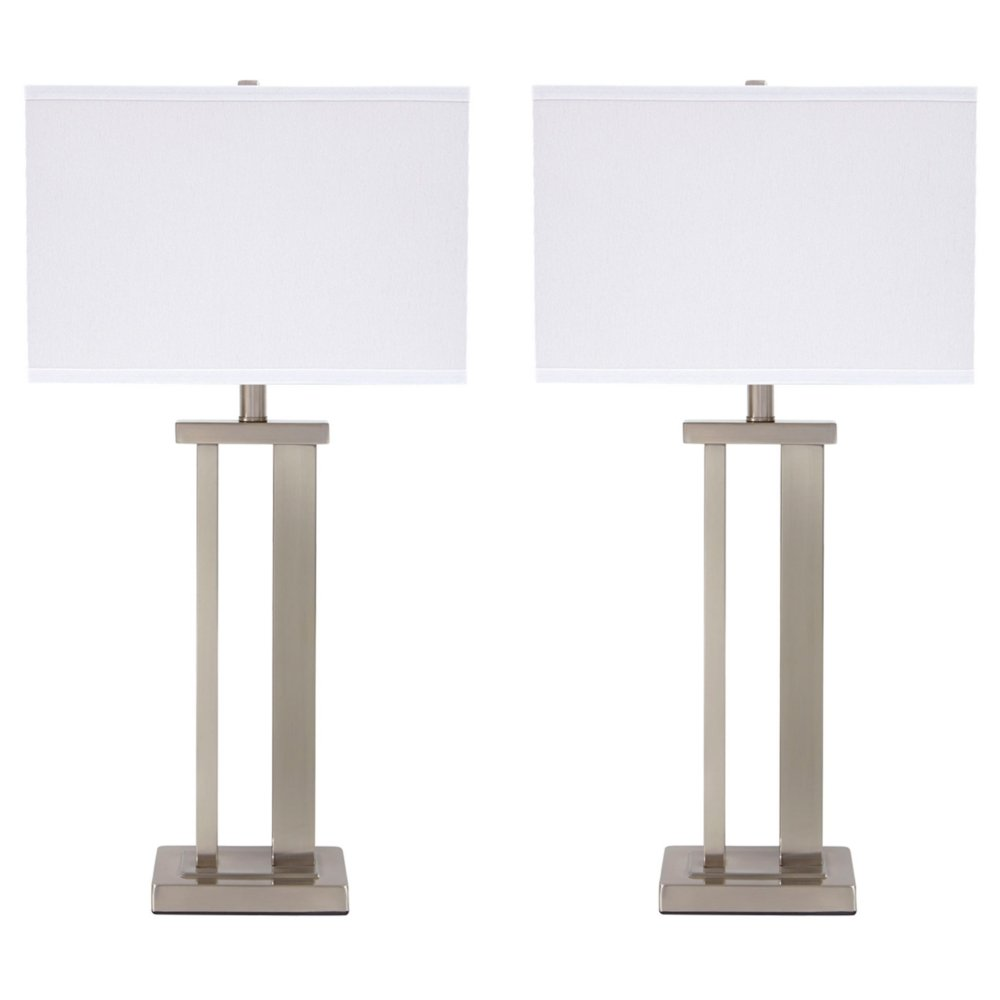 Ashley Furniture Signature Design -  Aniela Table Lamps - Set of 2 - Silver Finish
