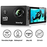 Wewdigi EV5000 Action Camera , 12MP 1080P 2 Inch LCD Screen , Waterproof Sports Cam 140 Degree Wide Angle Lens , 30m Sport Camera DV Camcorder With 11 Accessories Kit