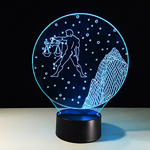 Lynny-R Led 3D Touch Switch Optical Illusion Desk Table Bedside Lamp with 7 Colors Changing Christmas Festival Night Light Gift and Party Favor (#9 Libra)