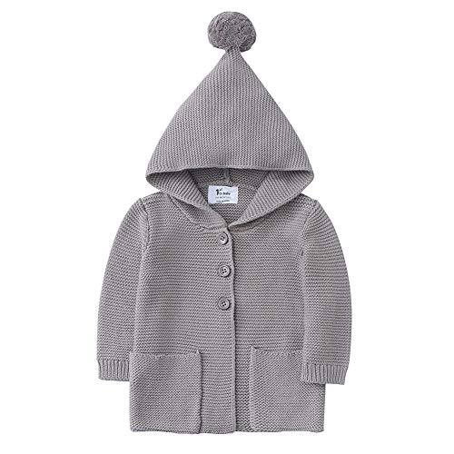 O2Baby Baby Boy Girl 100% Organic Cotton Knitted Cardigan Sweater with Hood Warm Jacket Coat(12-18 Months, Smoke Gray) (Knitted Sweater With Hood)