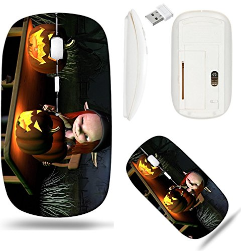 Liili Wireless Mouse White Base Travel 2.4G Wireless Mice with USB Receiver, Click with 1000 DPI for notebook, pc, laptop, computer, mac book IMAGE ID 32913908 Little goblin carving spooky Halloween p -