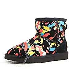 Women's Short Floral Printed Waterproof Snow Boot 95354