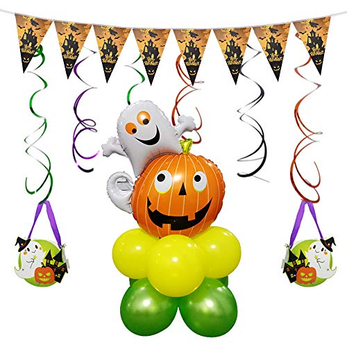 CapsA Halloween Party Supplies Party Favors Decoration Combination Balloons Pumpkin Spider Bat Skull Spider Web Ghost Shape Perfect for Birthday Halloween Bar Hanging Decoration Horror Celebration (A)