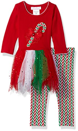 Bonnie Baby Girls Appliqued Tutu Dress and Legging Set, Candy Cane, 3-6 Months