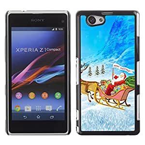 YOYO Slim PC / Aluminium Case Cover Armor Shell Portection //Christmas Holiday Santa Sleigh 1202 //Sony Xperia Z1 Compact