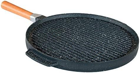 PEDRAS - Plancha Pan Doble placa de piedra de la lava Ceramicata Grill and Crepes + 3 accesorios GRATIS - MADE IN ITALY (36 cm)