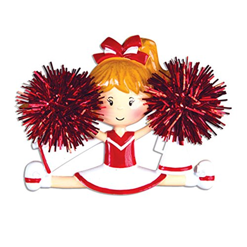 Personalized Cheerleader Christmas Tree Ornament 2019 - Girl with Real Pompom Split Competition Cheer Team Dancer High School Loud Proud Holiday Brunette Blonde Gift Year - Free Customization -