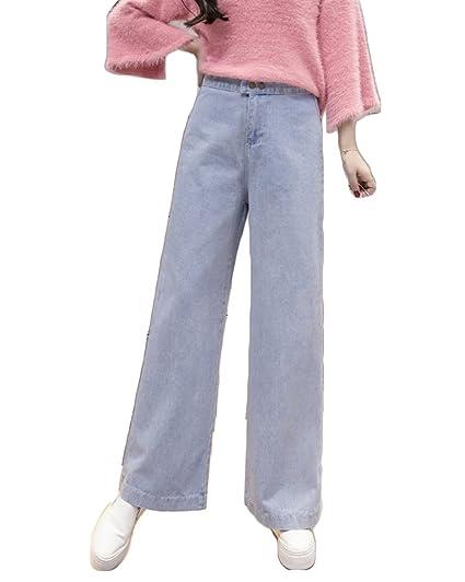 c5fe7e0472b8 Femmes Pantalons décontractés de Taille Haute de Pantalons de Jeans de Jambe  Large de Denim d