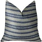"""Plutus Brands Plutus Stone Manor Indigo Handmade Throw Pillow, 20"""" x 26"""" Standard, Navy/Cream"""
