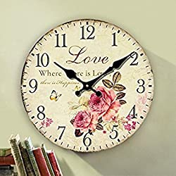 Romantic Roses Clock, 14 Eruner Country Floral Wall Clock *Love* Wooden Art Decor Non-Ticking Home Decoration(C-62)