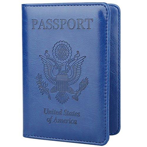 GDTK Leather Passport Holder Cover Case RFID Blocking Travel Wallet (Navy Blue)