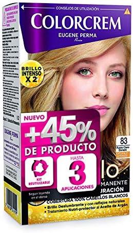 Colorcrem Color & Brillo Tinte Permanente Mujer - Tono 83 Rubio Claro Dorado, con Tratamiento Nutri-Protector al Aceite de Argán, 45% de Producto, ...