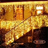 Hezbjiti 8 Modes LED Icicle Lights, 15.7 FT 96 LED Fairy String Lights Plug in Extendable Curtain Light String Christmas Lights for Bedroom Patio Yard Garden Wedding Party (Warm White)