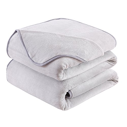 HOZY Soft Blanket Queen Size Fleece Warm Fuzzy Throw Blankets For The Bed Sofa Lightweight 350GSM Grey 90