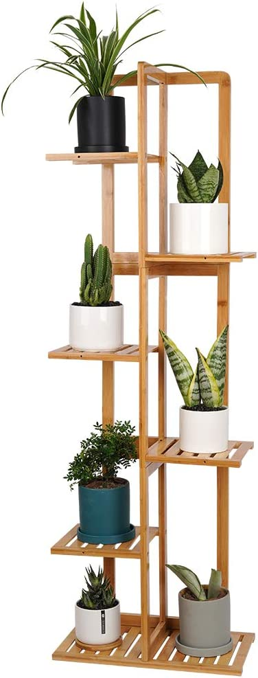 Bamboo Plant Stand Rack - Indoor & Outdoor Plant Stand 6 Tier 7 Potted Multiple Flower Planter Pot Holder Shelf Rack Display for Patio Garden Corner Balcony Living Room-Nature