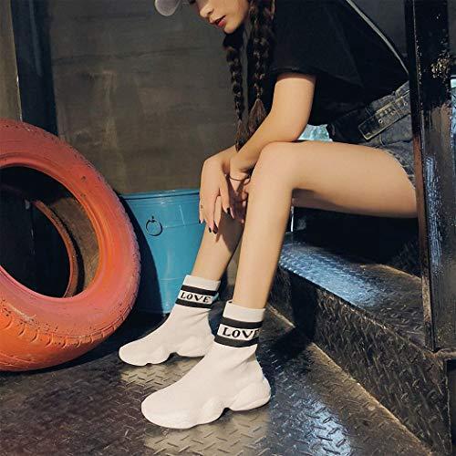 da Hip Calzature Scarpe bianca sportive Scarpe casual maglia Scarpe donna Lucdespo Calze Hop elastiche traspiranti a Hip Hop FZEAqfwnSx