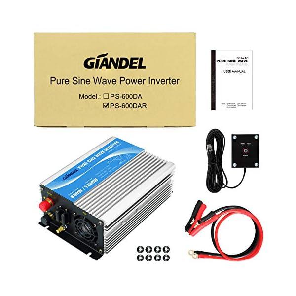 51hANdSBFWL 600W Wechselrichter Reiner Sinus Spannungswandler 12V auf 230V Power Inverter mit Fernbedienung und USB-Anschluss für…