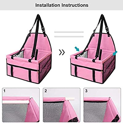 Minve Folding/&Waterproof Dog Car Seat Carrier with Seat Belt /&Storage Bag for Dogs and Cats Lovely Pink Pet Car Seat