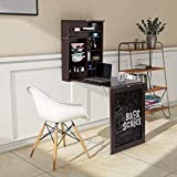 Tangkula Wall Mounted Table, Fold Out Convertible Desk with Chalkboard, Multi-Functional Wall Mounted Laptop Desk, Writing Desk Home Office Desk with Large Storage Area