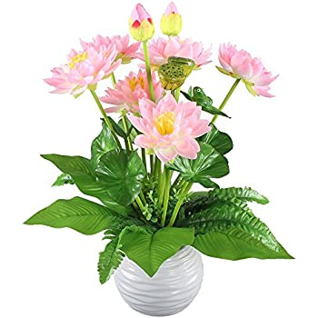 Hogado Artificial Flowers Peach Silk Lotus Bouquet Floral Arrangements  Centerpieces Home Kitchen Tabletop Aquarium Fish Tank Part 33
