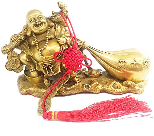 Fengshui Products Laughing Buddha Statues Buddha Sculptures Maitreya Carrying Money Bag for Attracting Wealth 8.3
