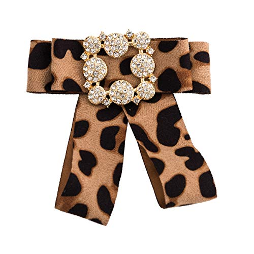 YAZILIND Brooch Pin Collar Jewelry Pre-Tied Ribbon Flannelette Leopard Print Bow Tie ()