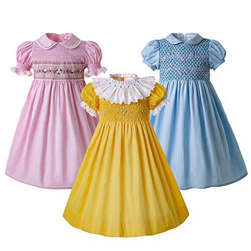 Pettigirl Girls Smocked Dress Puff Sleeve Holiday Dress 7-8t