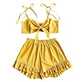 DEZZAL Women's Spaghetti Strap Tied Front Cami Crop Top and Ruffle Shorts Set (Mustard, L)