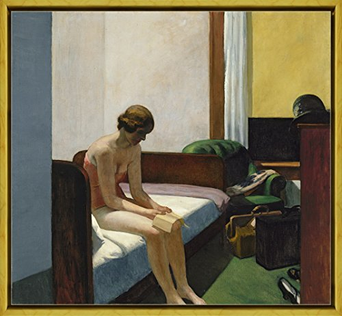Berkin Arts Framed Edward Hopper Giclee Canvas Print Paintings Poster Reproduction (Hotel Room) (Art Framed Hopper)