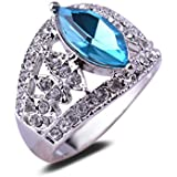 Blue Glass Czech Crystal Eye Shaped 18K White Gold Plated Ring Wedding Jewelry LOVE STORY (6.5#)