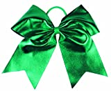 "HipGirl Boutique Girls Women 6"" Jumbo Large Cheer Bow Elastic Hair Tie Ponytail Holder for High School College Cheerleading (2pc 6"" Metallic Cheer Bow--Emerald)"