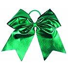 HipGirl Boutique Girls Women 6″ Jumbo Large Cheer Bow Elastic Hair Tie Ponytail Holder for High School College Cheerleading (2pc 6″ Metallic Cheer Bow–Emerald)