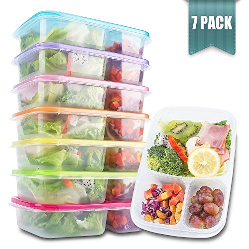 Meal Prep Containers 3 Compartment - Food Storage Containers with Lids , Thick | BPA Free | Reusable Bento Lunch Box - More Durable lunch containers - for Portion Control 21 Day Fix [7-Pack] (Multi Stack Polypropylene)