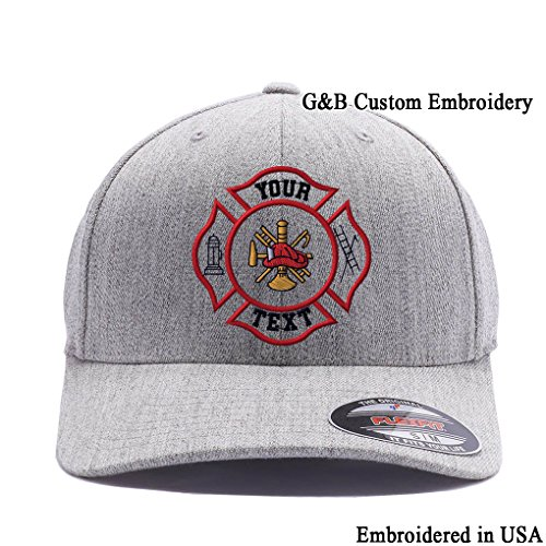 om Hat. Firefighter Cap 6477. Embroidered. Your Own Text On it. (L/XL, Heather) (Yupoong Flex Fit)