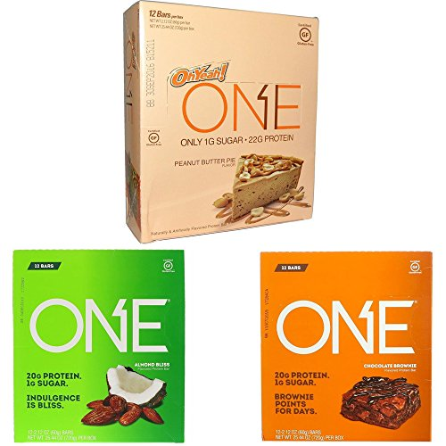 Oh Yeah Peanut Butter - ISS Research Oh Yeah! One Bar Nuts and Chocolate Flavors Protein Bar Variety Pack Bundle Almond Bliss, Chocolate Brownie and Peanut Butter Pie, 4 Pack each (12-Bars)