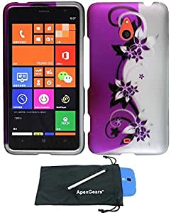 For Nokia Lumia 1320 Rubberized Hard Snap On Phone Protector Cover Case with Stylus Pen and ApexGears (TM) Phone Bag (Purple Silver Vine)