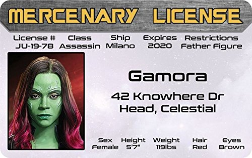 The Collector Guardians Of The Galaxy Costume (GAMORA - Daughter of Thanos - Guardians of the Galaxy Marvel Comics Drivers License / fun fake id card)