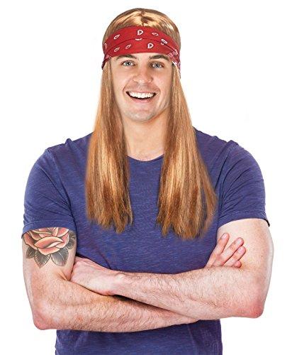 80's Rocker Costume Wig Axel Rose Costume Wig with Bandana Rock ()