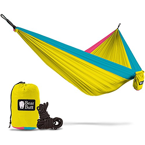 Price comparison product image Bear Butt #1 Double Hammock - A Start Up Company With Top Quality Gear At Half The Cost Of The Other Guys (Yellow / Sky Blue / Pink)