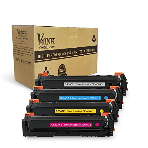 V4INK Compatible Toner Cartridge Replacement for HP CF500X  ( Black, Cyan, Yellow, Magenta , 4 pk )