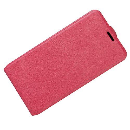 Para Zenfone 3 GO ZB501KL / Asus ZenFone Live ZB501KL Caso compacto de piel PU, arriba-abajo piel abierta PU Funda de piel con ranura para tarjeta y función de protección completa con cierre magnético Rosa caliente