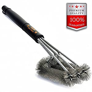 "BBQ Grill Brush cleaner, 3 in 1 18"" Best BBQ Brush. Safe For All Grills, Stainless Steel grill cleaning brush, heavy duty grill brush, gas grill brush set, charcoal grill brush kit"