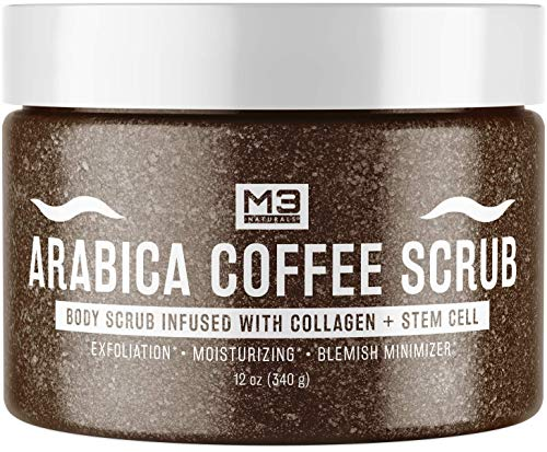 M3 Naturals Arabica Coffee Body Scrub Infused with Collagen and Stem Cell - Exfoliating Body and Face Scrub for Anti-Cellulite, Stretch Mark, Varicose and Spider Vein Treatment 12 oz