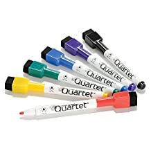 Quartet ReWritables Dry Erase Mini Markers with Magnetic Cap Mounted Erasers, 6-Marker Pack, Assorted Standard Colors (51-659312Q)