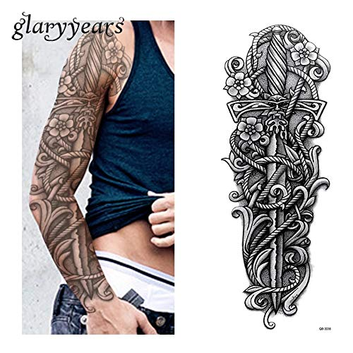 Cloke Dagger Deity Holy Cross god Shiva Temporary Tattoo Scar Cover Make up Metallic Fake Tattoo Cover up Stretch Mark Cover up Conceal Body Make up Anime Body Stickers 3D Body Glam Cosplay Body Art ()