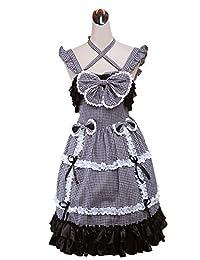 antaina Black Plaid Cotton Ruffle Halter Sweet Victorian Lolita Cosplay Dress