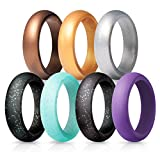 Silicone Wedding Rings for Women - 7 Pack